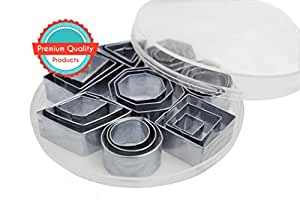 Sugar And Spice Kitchen Best Geometric Shapes Cutters Including Hexagon Stainless Steel, Durable Set of 24 Plus Comes In Container