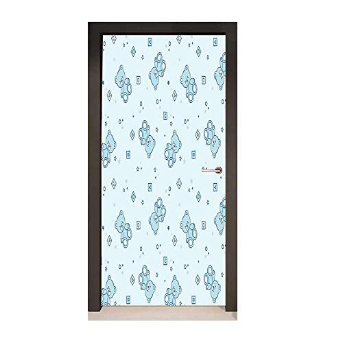 (Homesonne Nursery Decor Door Mural Teddy Bears and Toys with Letters on Children Imagery Baby Blue Background for Office Decoration Baby Blue Aqua,W17.1xH78.7)