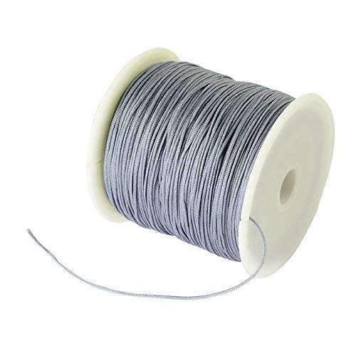 FidgetKute 1 Roll Braided Nylon Cord Imitation Silk String Thread 0.8mm About 100Yard/Roll ()