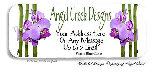 60 Purple Lavender Orchid Flower Personalized Return Address Labels