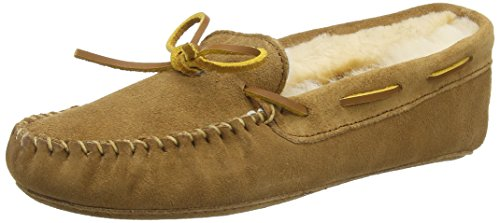 Fur Lining - Minnetonka Women's Sheepskin Softsole Moccasin,Golden Tan Suede/Sheepskin,US 6 M