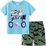 HenzWorld Boys 2 Pieces Cotton Outfit Set Shorts & Tops Kids Short Sleeves T-Shirt + Pants Cartoon Dinosau