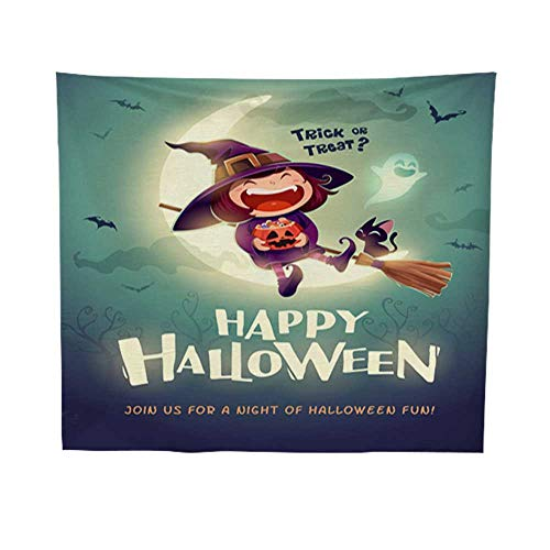Leighhome Wall Hanging tapestrymandala Wall tapestryHappy Halloween Halloween Little Witch Girl Kid in Halloween Costume Sits on The Moon Retro Vintage 1 60W x 80L INCH -