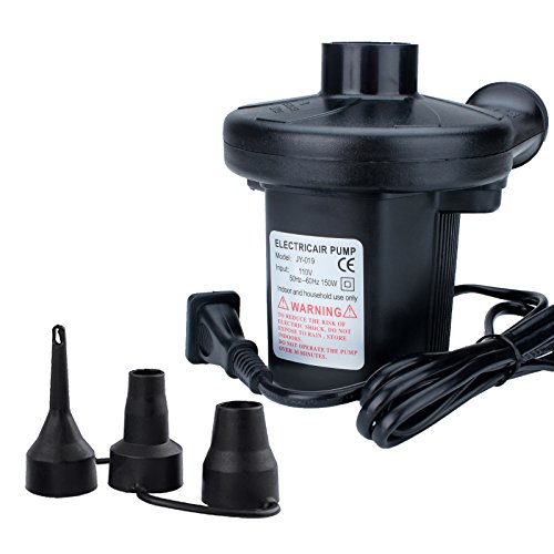-Fill AC Electric Air Pump 110-120 Volt to Inflate/Deflate Inflatable Boats Mattresses with 3 Assorted Nozzles Perfect for using indoors(60Hz, Black) (120 Volt Ac Rechargeable Pump)