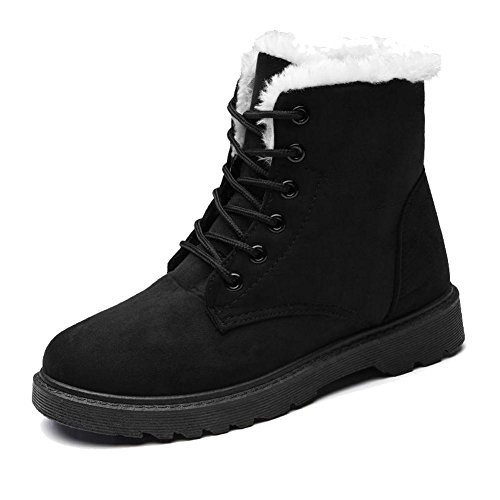 Heel Calda Calzature Martin Short Donne Piana Scarpe In In Cotone Pelle Scarpe Peluche Casual Più Scamosciata black Boots wvB0q