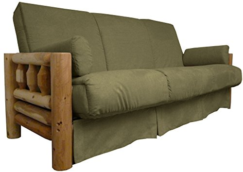 Epic Furnishings Rocky Mountain Perfect Sit & Sleep Pocketed Coil Inner Spring Pillow Top Sofa Sleeper Bed, Full-size, Microfiber Suede Olive Green Upholstery