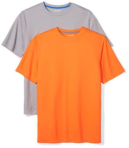 Amazon Essentials Men's 2-Pack Performance Short-Sleeve T-Shirts, Medium Grey/Neon Orange, Large