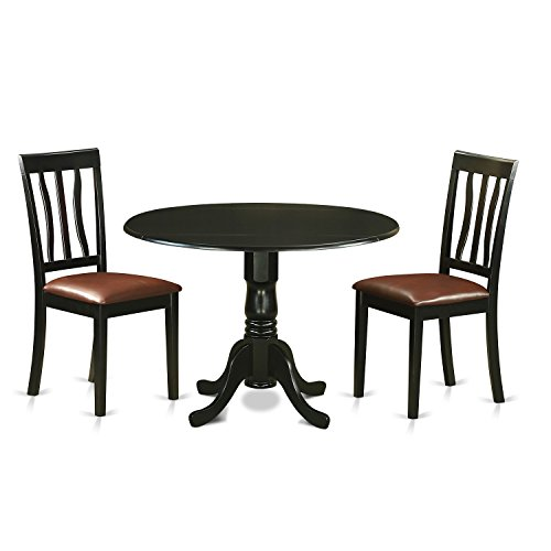East West Furniture DLAN3-BLK-LC 3 Piece Dining Table and 2 Chairs Set for 2 People
