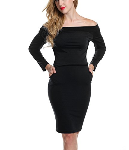 ACEVOG Women's Off Shoulder Long Sleeve Bodycon Pocket Midi Pencil Dress, Black, Large