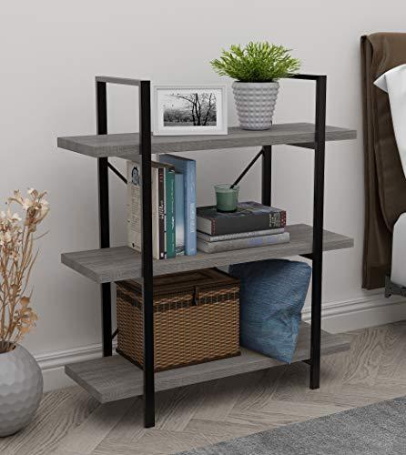 45MinST 3-Tier Vintage Industrial Style Bookcase/Metal and Wood Bookshelf Furniture for Collection,Gray Oak 3/4/5 Tier (3-Tier)
