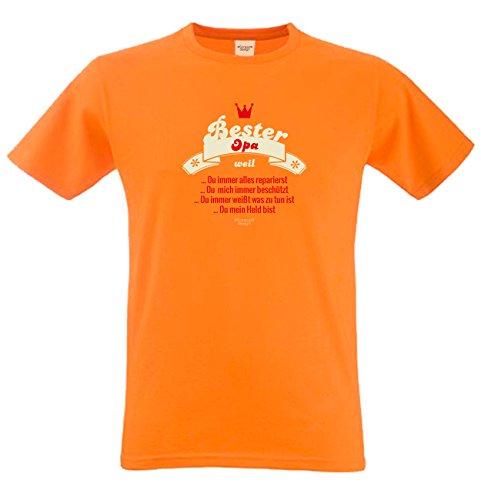 T-Shirt - Bester Opa - Repariert Alles - Ist ein Held Orange - lustiges Sprüche Shirt für Opas mit Humor - Geschenk Set zum Vatertag