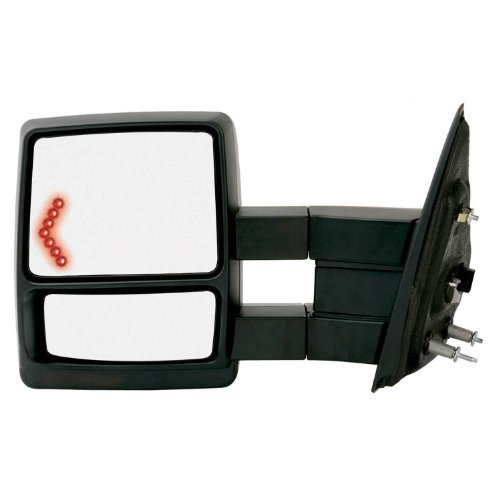 Fit System 61184F Black OE Style Driver Side Extendable Towing Mirror for Ford F-150