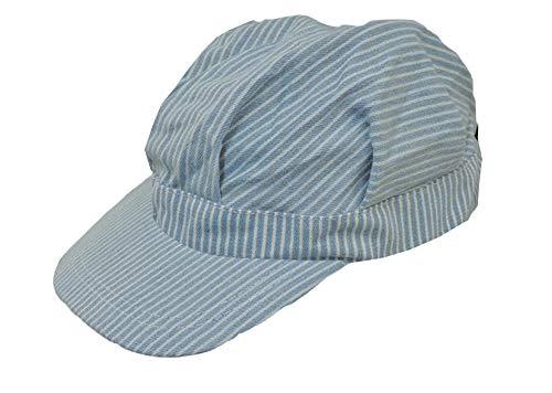 Toddler Size Adjustable Train Engineer Hat Blue White]()
