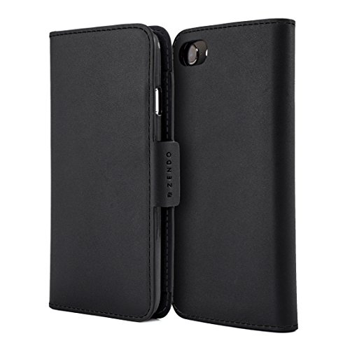 Zendo iPhone 8 Plus/7 Plus Leather Wallet Case (European Leather) with Card Slots, Magnet, Stand Function, Wrist Strap | Kaiga Leather flip Cover case [iPhone 8 Plus/7 Plus | Black] ()