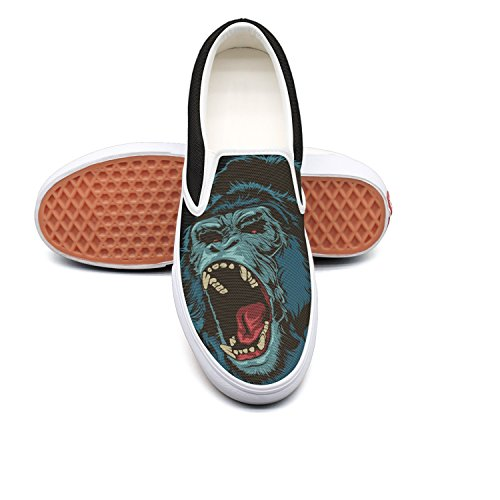 Man Roaring Gorilla Canvas Shoes Casual Loafers Shoes Sneaker by Fangtinge
