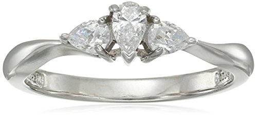Platinum-Plated Sterling Silver Swarovski Zirconia Pear 3-stone Ring, Size 6 ()