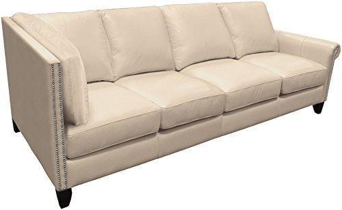 Omnia Leather Benjamin Right Arm 4 Cushion Sofa with Left Return in Leather, with Nail Head, Softstations White Winter
