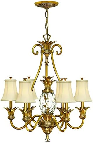 Hinkley 4886BB Tropical British Colonial Seven Light Foyer from Plantation collection in Brass-Antiquefinish,