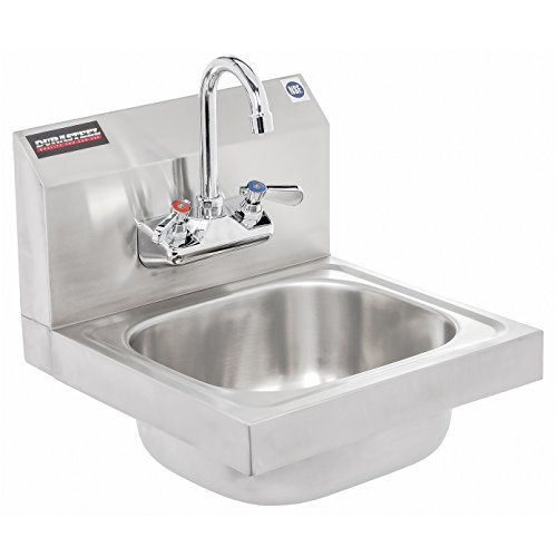 Apex SHS-W-1615 DuraSteel Stainless Steel Hand Sink Wall Mount NSF Approved with No Lead Faucet and Strainer (Ss Hand Sink)