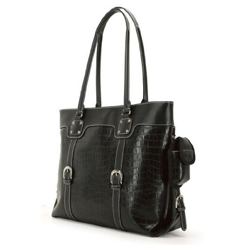 Signature Buckle Tote - Mobile Edge Signature Laptop Tote Bag, Black Faux-Croc, Fits 16 Inch PC and 17 Inch MacBook, SafetyCell Computer Protection Compartment, for Women, Business, Students METSC1