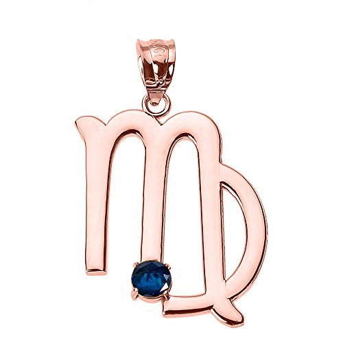 Personalized 10k Rose Gold Genuine Blue Sapphire September Birthstone Virgo Zodiac Charm Pendant ()