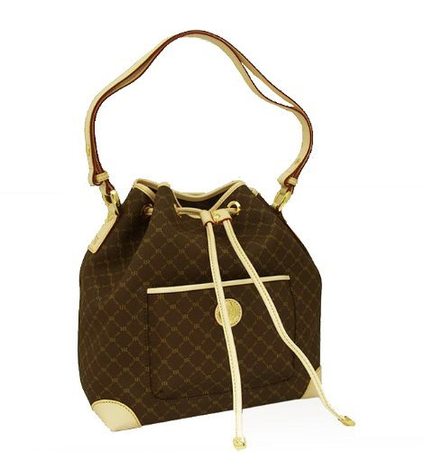 Signature Brown Top Flap Drawstring Bag by Rioni Designer Handbags & Luggage