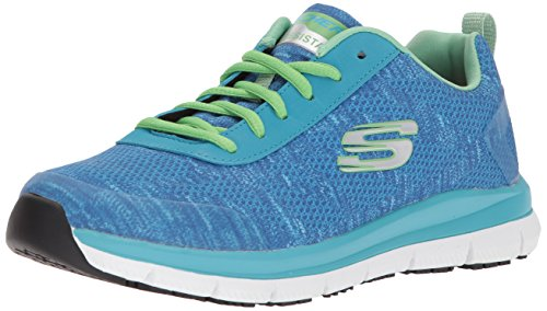 Skechers For Work Women's Comfort Flex HC Pro SR Health Care and Food Service Shoe, Light Blue/Green, 8.5 M US