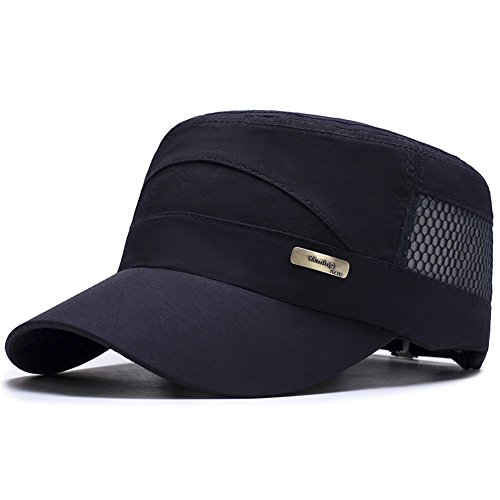 ChezAbbey Unisex Quick Dry Flat Top Cadet Caps Adjustable Snapback Corps Military Stylish Mesh Behind Flat Top Hats Navy