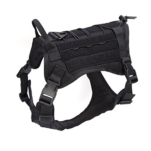 Detachable Ring Girth (Pettom Service Tactical Dog Harness Molle Vest Military Army Dog Outdoor Hiking Backpack with Detachable Pouches Patch (M (Girth: 21-33in), Black Vest Only))