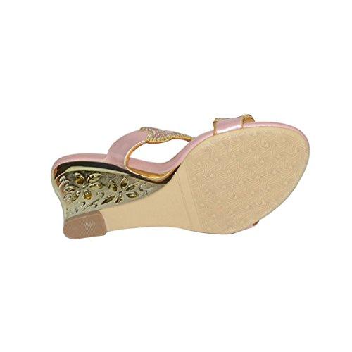 Con Zapatos Tacón Mujer Rosa Meijili f1qx7w6nF
