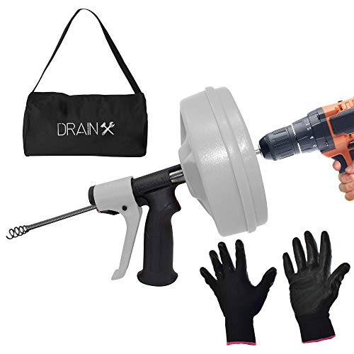 Cheap DrainX SPINFEED 50 Foot Drum Auger | Use Manually or Drill Powered - Auto Extend and Retract Snake | Work Gloves and Storage Bag Included auger