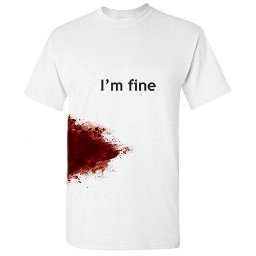 I'M FINE Funny Zombie Slash Movie Gag Gift Injury Blood T Shirt L White