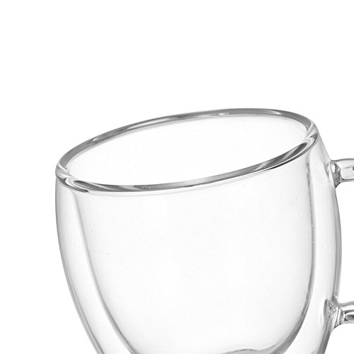 Double Walled Insulated Glass Coffee or Tea Cup with Handle for Espresso Latte Cappuccino, 5.1 oz (150ml), Coffee mugs,Set of 2 by Sinwere (Image #7)