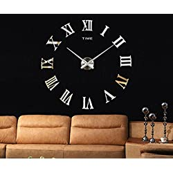 Modern DIY Analog 3D Mirror Surface Large Number Wall Clock Sticker (Roman-Gold)
