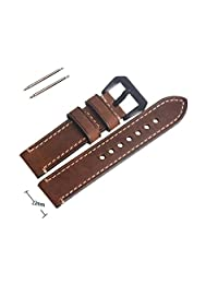 22mm Vintage Genuine Leather Replacement Brown Watch Strap Band With Black Buckle