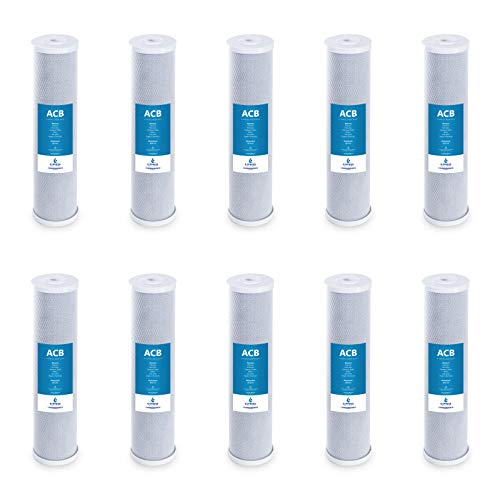 Express Water - 10 Pack Big Blue Filter Activated Carbon Block Replacement Filter - ACB Large Capacity Water Filter - Whole House Filtration - 5 Micron - 4.5