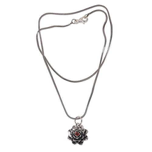 NOVICA Garnet and .925 Sterling Silver Handmade Flower Pendant Necklace 'Sacred Red Lotus', (Flowers Garnet Pendant)