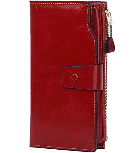 Qianxilu Women's RFID Blocking Large Capacity Luxury Wax Real Leather Clutch Big Wallet Card Holder Organizer Ladies Purse (Wine RED)