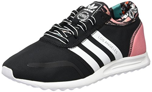 adidas Damen Los Angeles Sneakers, Schwarz (Core Black/Ftwr White/Peach Pink), 40 EU