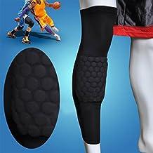 JaHoo Basketball Leg Knee Long Sleeve Protector Gear Honeycomb Pad Crashproof Antislip Black