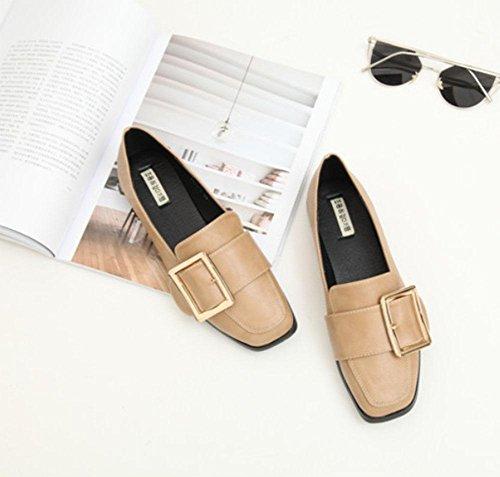 Bajos Sra Meili Apricot Hebilla Simples Planos Zapatos Cuadrados Baja De Cinturón Boca xw06qOvwH