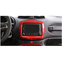 Dwindish ABS Dash Board Car DVD Player GPS Frame Trim Cover For Jeep Renegade 2015 Up Red