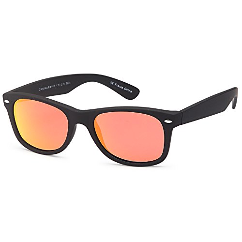 GAMMA RAY CHEATERS Best Value Polarized UV400 Wayfarer Style Sunglasses with Mirror Lens and Multi Pack Options Kids - Black Frame Mirror Orange Lens