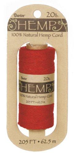 (DARICE HP1010 20-Pound Hemp Spool, 205-Feet, Red )