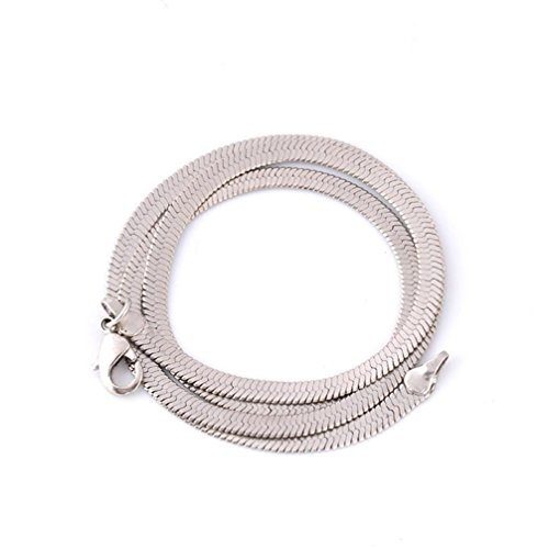 Stheanoo 16-24 Inches Long Women Men Necklace Crafted Flat Herringbone Link Chain Necklace (silver, ()