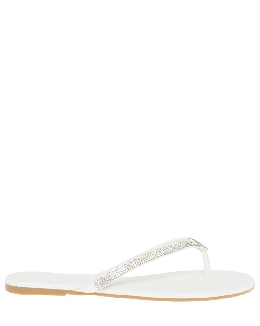 LE CHÂTEAU Women's Jewel Embellished Flip Flop,9,White