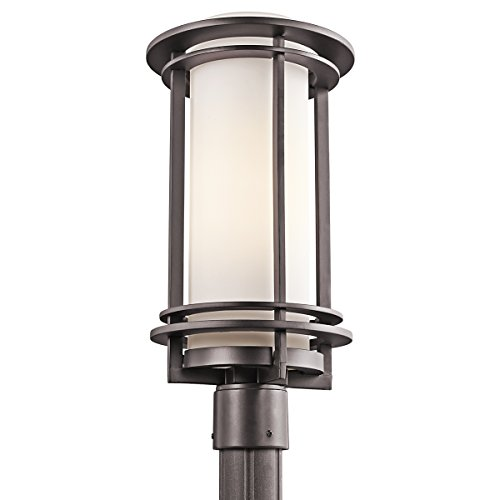 Kichler 49349AZ Pacific Edge 1-Light Post Mount, Architectural Bronze Finish with Satin Etched Cased Opal Glass Art Deco Outdoor Lighting