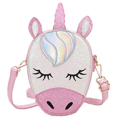 Tonfant Glitter Laser PU Leather Unicorn Crossbody Purse Bag for Girls Teens Women