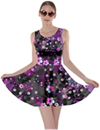 9f0e6bea8ff3 Womens Hawaii Hibiscus Tropical Flowers Floral Leaves Summer Party Skater  Dress