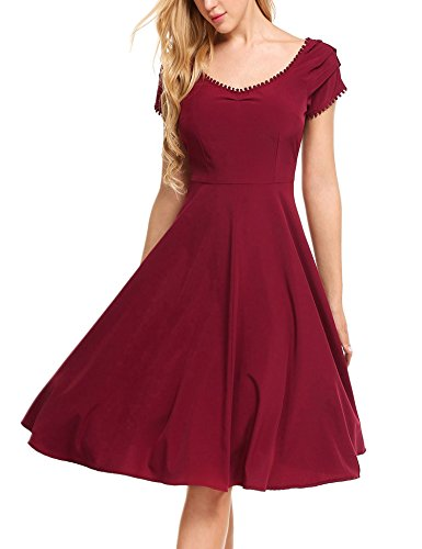 GEESENSS Women's Summer Vintage Swing Cocktail Party Dress Flare Midi Dress Wine Red 1 (Knee Length Homecoming Dresses)